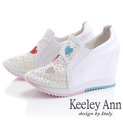 Keeley Ann墊起腳尖愛 網面電繡愛心內增高休閒鞋(白色-Ann系列)