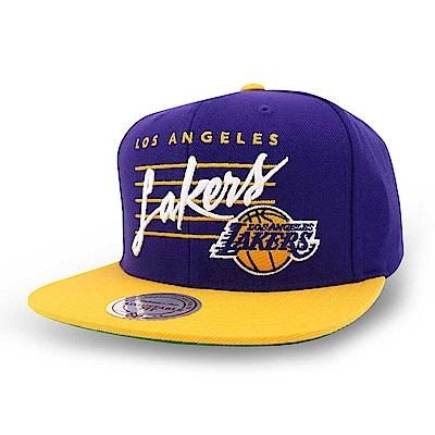 M&N NBA Cursive Script球隊帽 湖人隊紫色