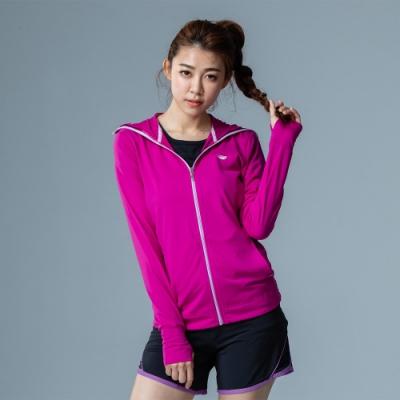 【LACHELN】女款全面防曬口罩式快乾透氣連帽針織外套-葡萄紫色(L81W506)