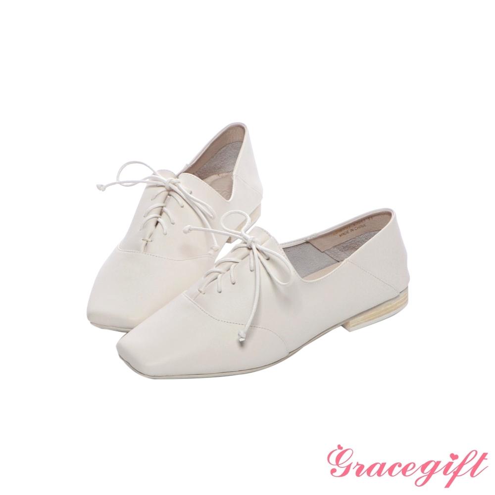 Grace gift X尖如-真皮拼接綁帶牛津鞋 白