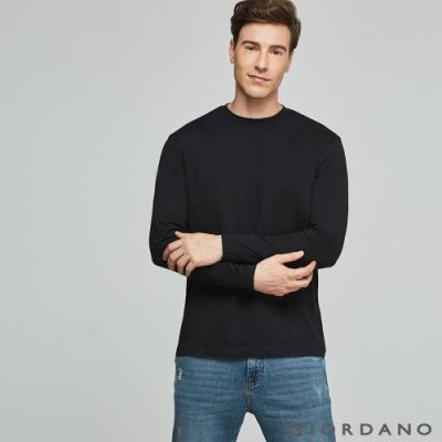 GIORDANO 男裝素色寬版圓領長袖T恤 - 03 標誌黑