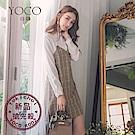 東京著衣-yoco 溫柔學院蕾絲吊帶襯衫拼接馬甲格紋短洋裝-(共二色)