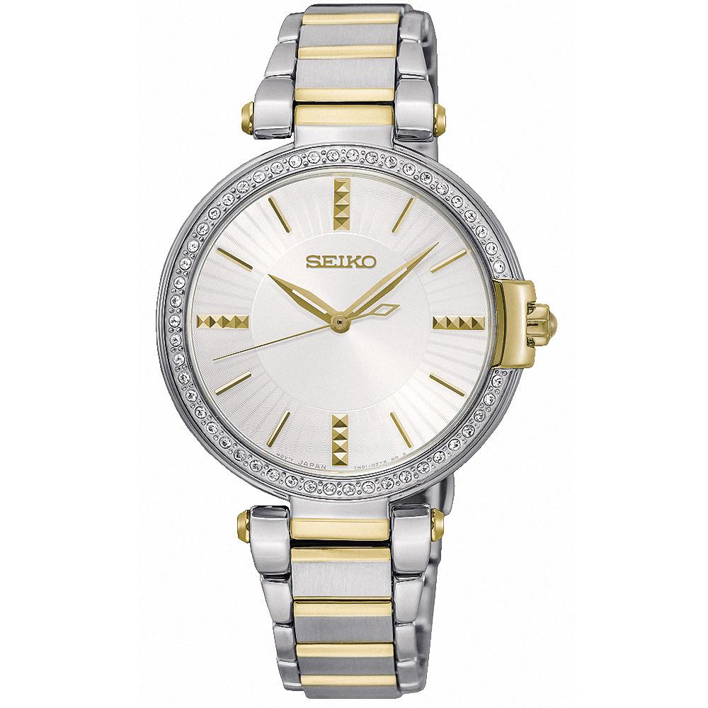 SEIKO精工 CS 絕代女伶晶鑽腕錶(SRZ516P1)-銀x雙色/32mm