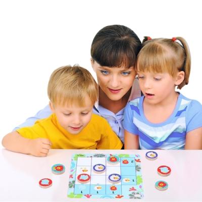 colorland 兒童啟蒙早教玩具 木製九宮格動物益智桌面遊戲