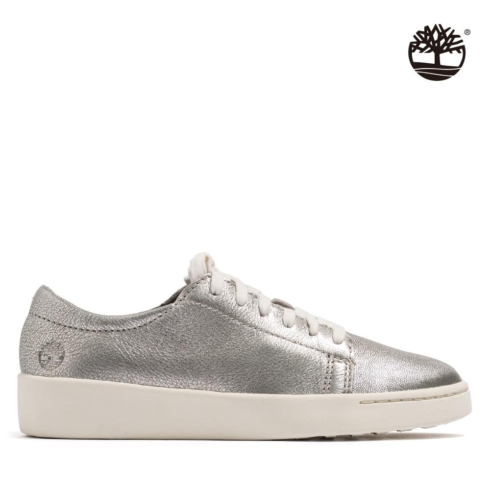 Timberland 女款銀色全粒面革休閒鞋|A26PW