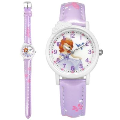 Disney 迪士尼 小公主蘇菲亞 皇冠造型 兒童 卡通 亮面皮革手錶-白x紫/28mm