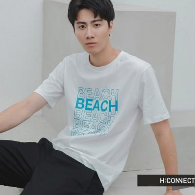 H:CONNECT 韓國品牌 男裝 -活力字樣圓領T-Shirt-白