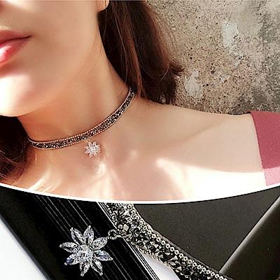 梨花HANA  韓國雙層蝴蝶結水鑽鍊條頸鍊