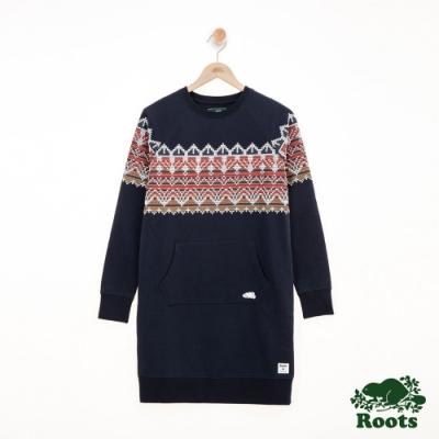 女裝ROOTS-費爾島刷毛洋裝-藍色