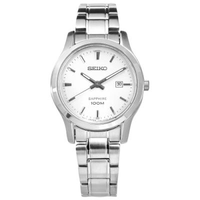 SEIKO 精工 經典簡約 藍寶石水晶玻璃 防水100米 不鏽鋼手錶-銀色/29mm