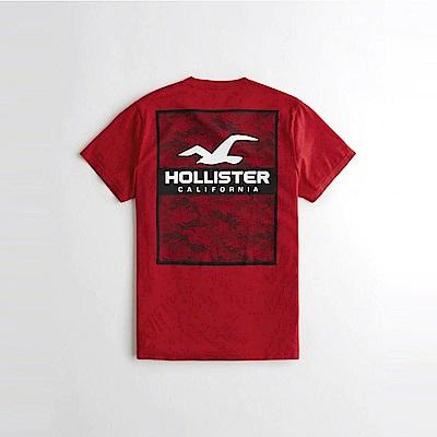 HCO Hollister 海鷗 經典印刷文字設計短袖T恤-紅色