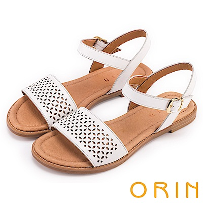 ORIN 夏日異國渡假 趣味造型簍空真皮平底涼鞋-白色
