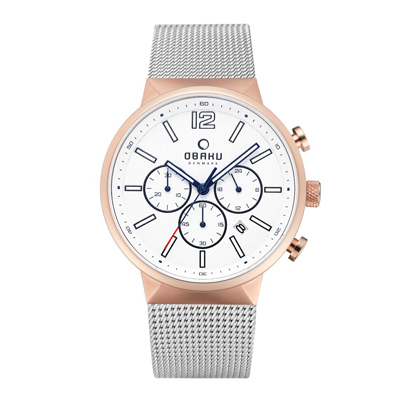 OBAKU 暴風元素三眼腕錶腕錶-銀X玫瑰金(V180GCVWMC)/42mm