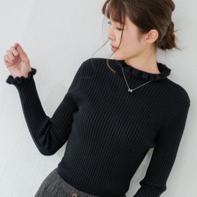 慢 生活 絨毛領坑條針織衫- 黑色