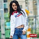 Levis 女款 短版大學T 翻玩拼色Logo