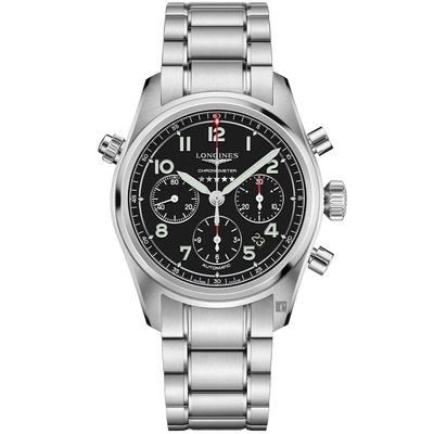 LONGINES浪琴 Spirit 先行者系列飛行員計時機械錶-黑/42mm L38204536