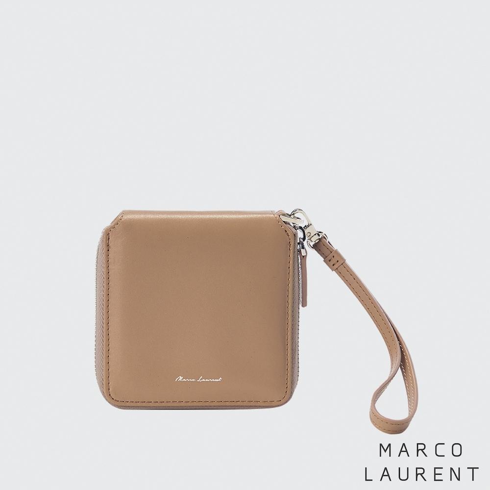 MARCO LAURENT XOXO 拉鍊方形中夾 - 駝色