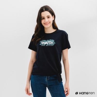 Hang Ten-女裝-有機棉下擺綁結印花短袖T恤-藍色