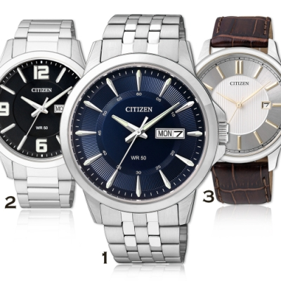 CITIZEN 極品紳士雅爵經典石英腕錶(3款任選)
