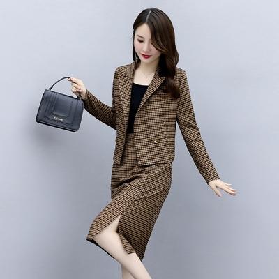 玩美衣櫃知性雅致復古翻領格紋裙套裝M-2XL(共二色)-SZ