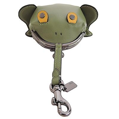 COACH專櫃款全皮革青蛙珠釦吊飾零錢夾墨綠