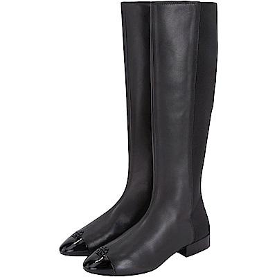 TORY BURCH Jolie 黑色皮革拼接長靴(展示品)