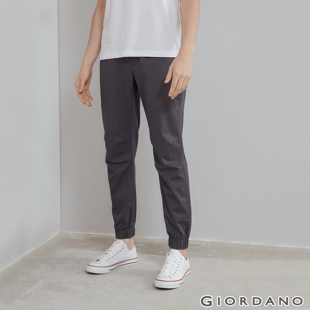 GIORDANO 男裝純棉素色束口褲 - 05 深灰 product image 1