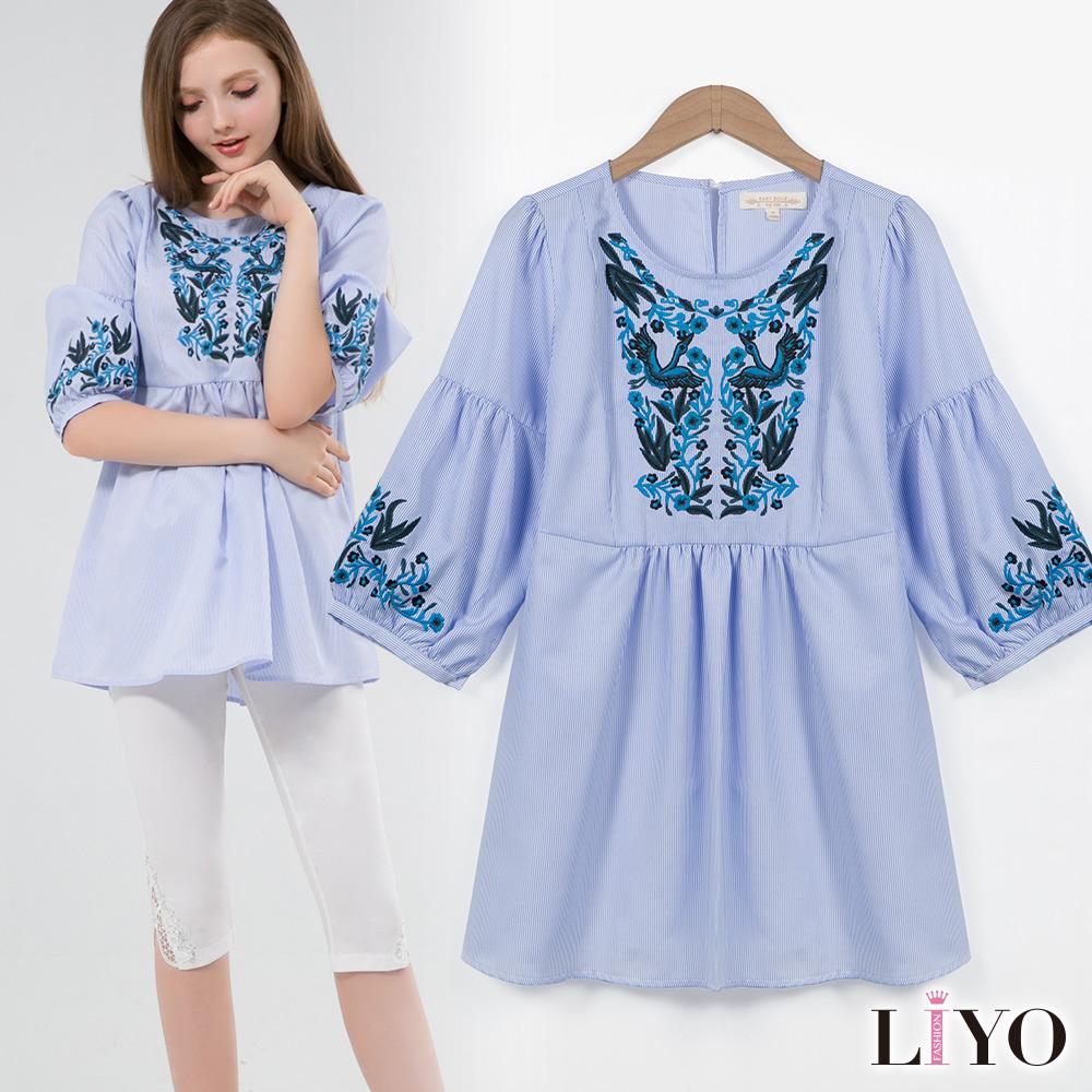 上衣直紋民族風圖騰繡花泡泡袖寬鬆娃娃裝長版上衣LIYO理優 S-XL