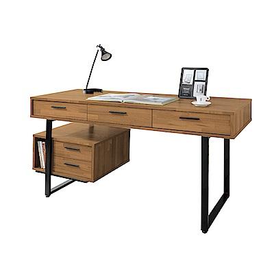 文創集 奧斯本時尚5尺木紋書桌(二色可選)-150x60x76cm免組