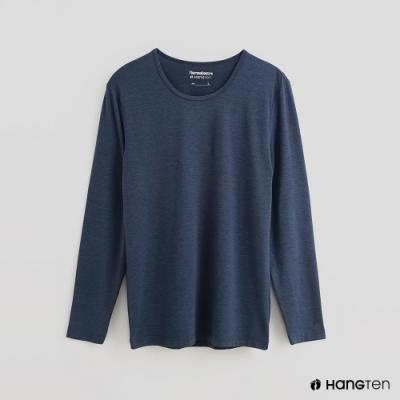 Hang Ten - 男裝 -ThermoContro-素面運動機能圓領長袖上衣-藍