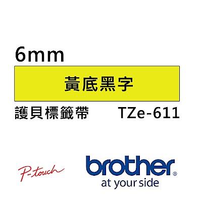 Brother TZe-611 護貝標籤帶 ( 6mm 黃底黑字 )