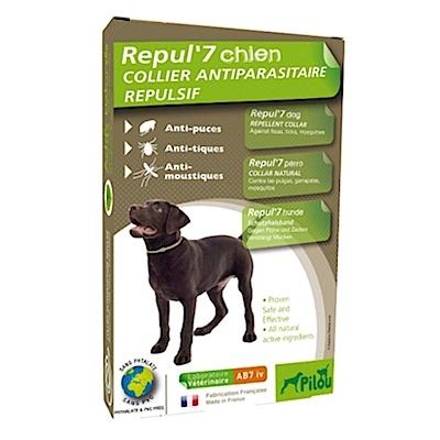 法國皮樂 Pilou 中型犬用 天然除蚤驅蝨防蚊項圈 兩入組