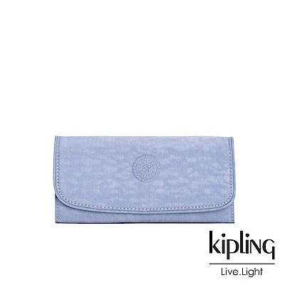 Kipling 溫柔粉藍掀蓋長夾-SUPERMONEY