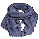 EMPORIO ARMANI 繽紛字母品牌圖騰LOGO高質感螺縈絲造型圍巾(灰藍系)