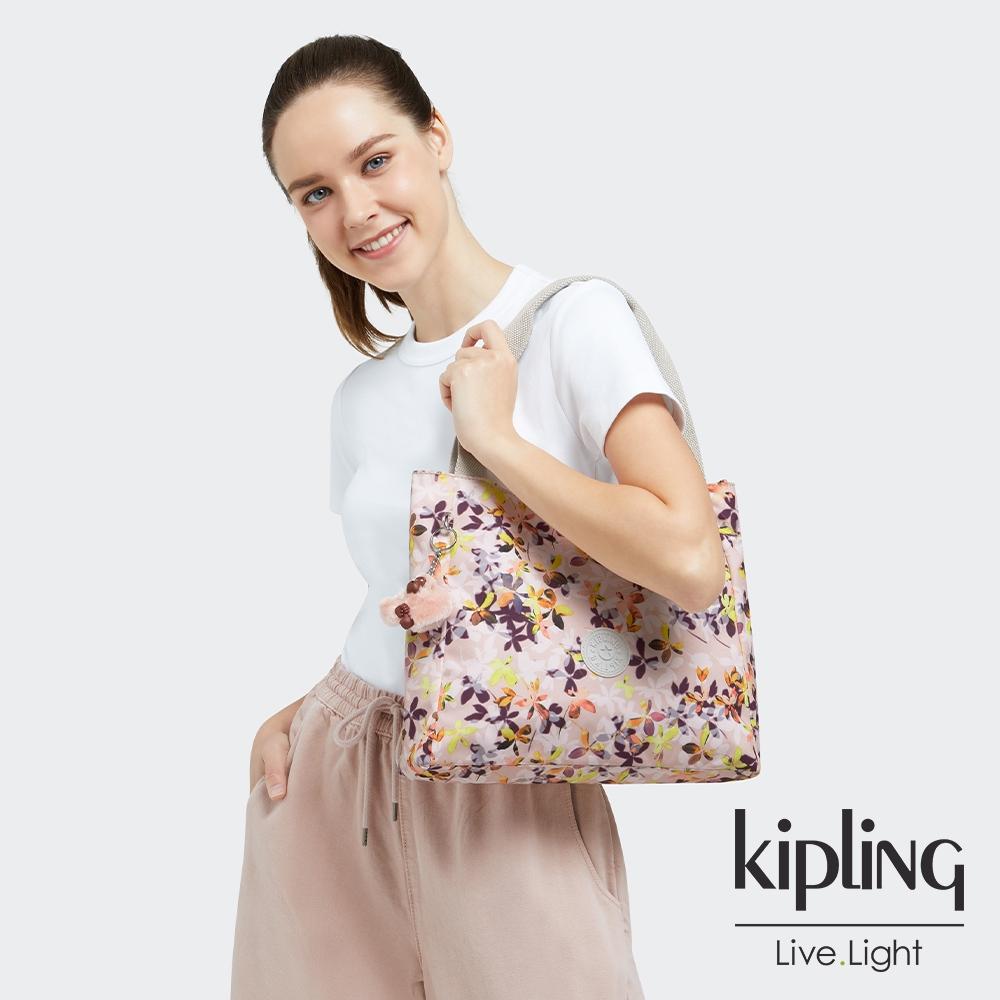 Kipling 飄零落花粉典雅手提托特包-HALSTEIN