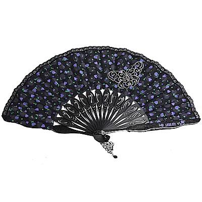 ANNA SUI 繽紛花朵圖騰蕾絲滾邊氣質扇(黑/黑邊)
