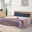 文創集 柏格6尺皮革雙人加大床組(二色+不含床墊)-182.5x217x101cm免組