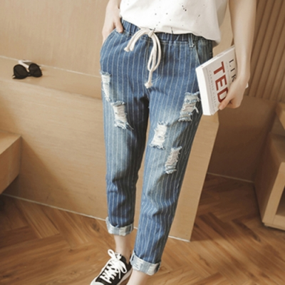 【韓國K.W.】(現貨)丹寧刷破抽繩鬆緊哈倫牛仔褲-1色
