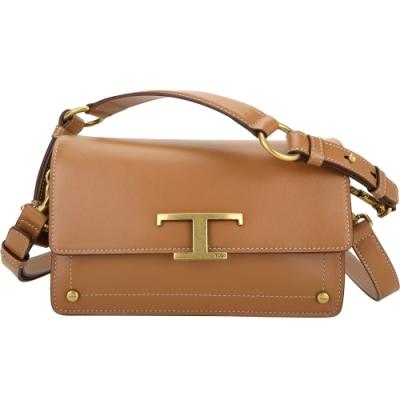 TOD'S Timeless T字金屬光滑牛皮肩背/斜背包(棕色)