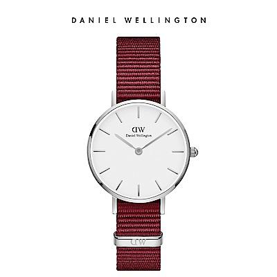 DW 手錶 官方旗艦店 28mm銀框 Classic Petite 玫瑰紅織紋錶
