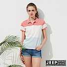 JEEP 女裝 拼接造型短袖POLO衫-桃粉