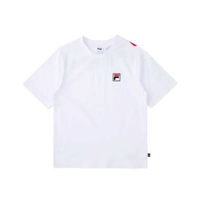 FILA KIDS 短袖圓領T恤-白 1TEU-8500-WT