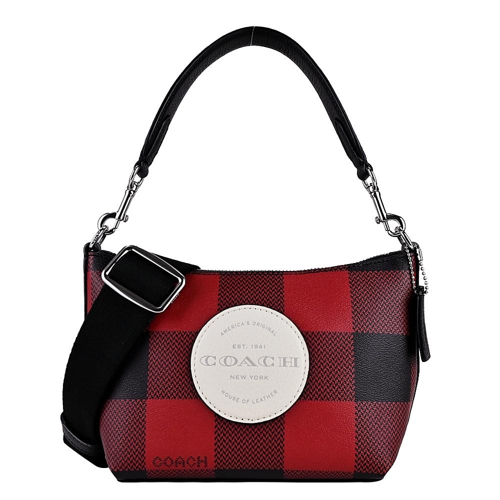 COACH 大LOGO蘇格蘭紋印花兩用馬鞍包(小/黑紅)