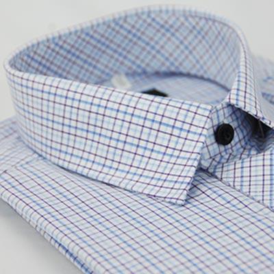 金‧安德森 藍色格紋黑扣長袖襯衫fast