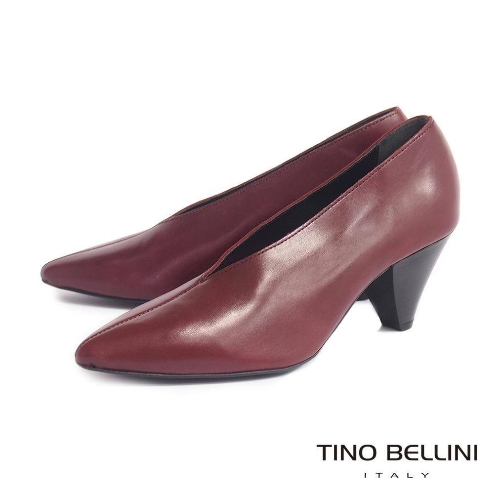 Tino Bellini 義大利進口摩登V型鞋口尖楦高跟鞋_棗紅