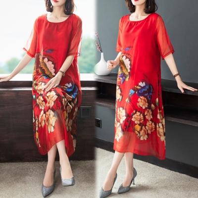 【韓國K.W.】(預購)   唯美花卉桑蠶絲質感洋裝
