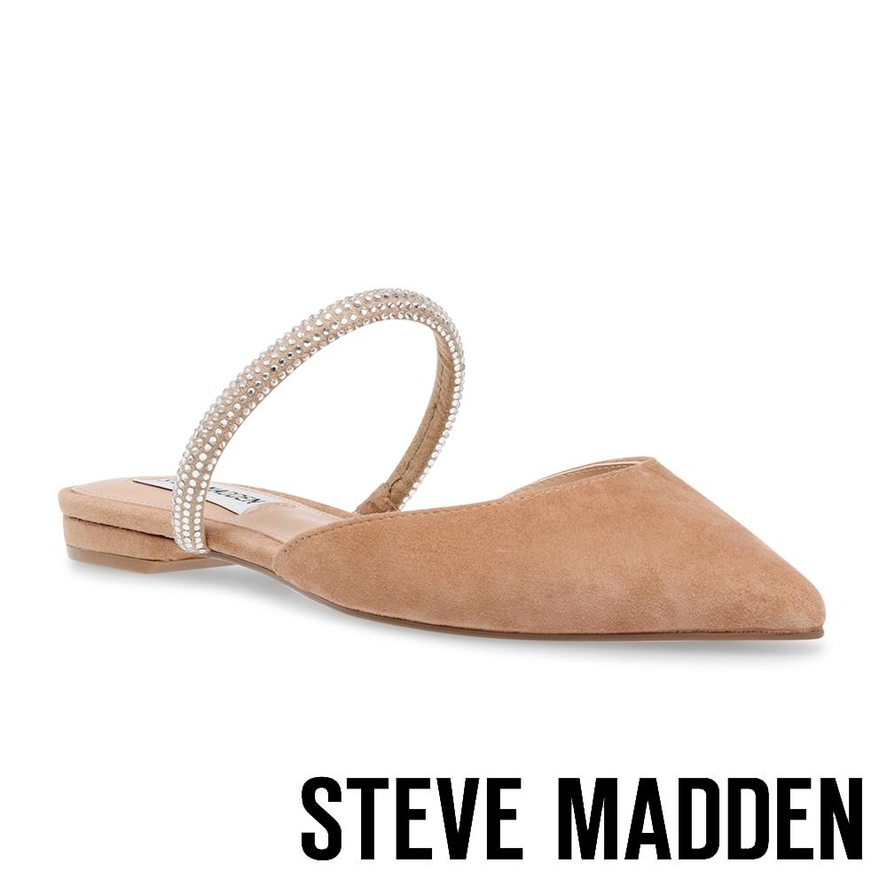STEVE MADDEN-EEVI 氣質羊絨鑽帶尖頭平底鞋-絨棕