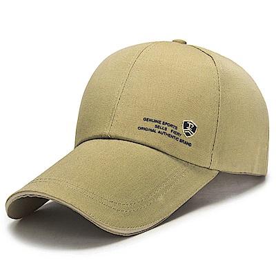 活力揚邑 防曬防紫外線防風戶外運動透氣鴨舌帽盾形F刺繡棒球帽-駝