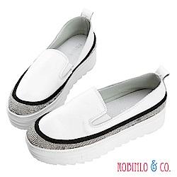Robinlo & Co.百搭閃爍碎鑽牛皮厚底休閒鞋 白色