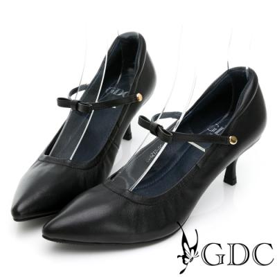 GDC-典雅素色真皮尖頭兩穿上班低跟鞋-黑色